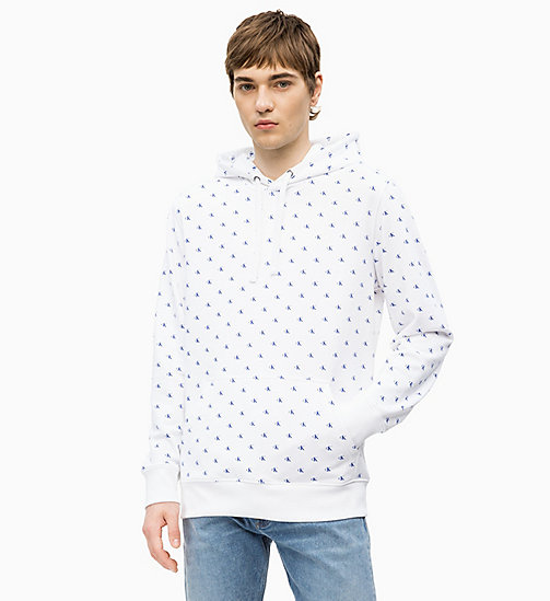 CALVIN KLEIN JEANS All-Over Printed Logo Hoodie - CK AOP BRIGHT WHITE / BLUE - CALVIN KLEIN JEANS NEW IN - main image