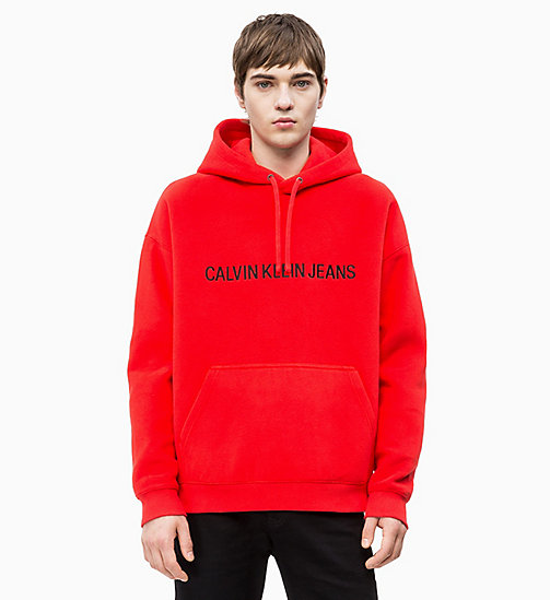 CALVIN KLEIN JEANS Fleece Logo Hoodie - RACING RED - CALVIN KLEIN JEANS LOGO SHOP - main image