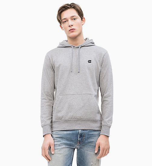 CALVIN KLEIN JEANS Cotton Terry Hoodie - GREY HEATHER - CALVIN KLEIN JEANS NEW IN - main image