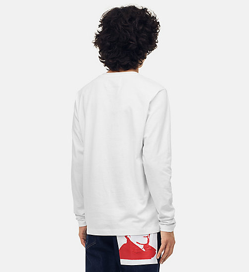 CALVIN KLEIN JEANS Warhol Portrait Long Sleeve T-shirt - BRIGHT WHITE / BLUE - CALVIN KLEIN JEANS ANDY WARHOL - detail image 1