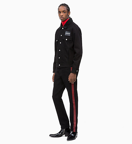 CALVIN KLEIN JEANS CKJ 026 Slim Side Stripe Jeans - BLACK/RED STRIPE - CALVIN KLEIN JEANS NEW IN - detail image 1