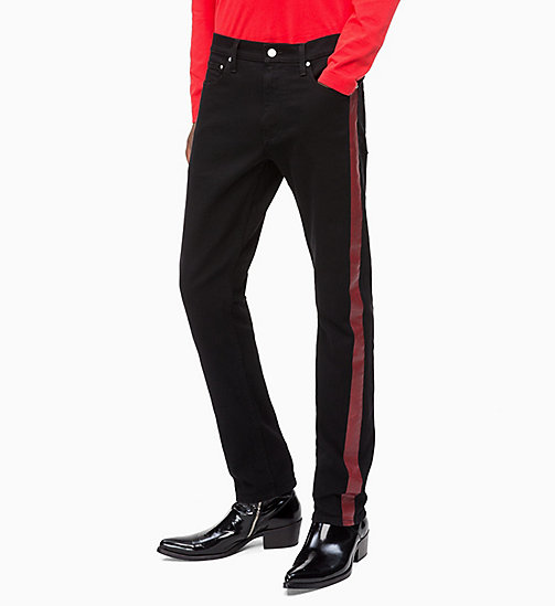 CALVIN KLEIN JEANS CKJ 026 Slim Side Stripe Jeans - BLACK/RED STRIPE - CALVIN KLEIN JEANS NEW IN - main image