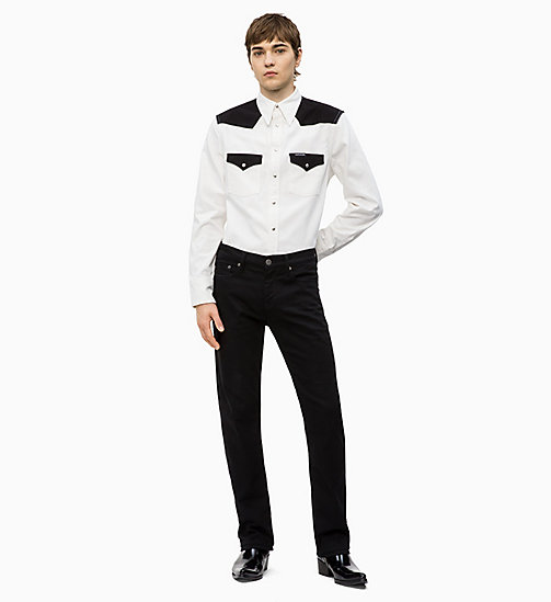 CALVIN KLEIN JEANS Colour Block Western Shirt - WHITE/ BLACK BLOCKED - CALVIN KLEIN JEANS DENIM SHOP - detail image 1