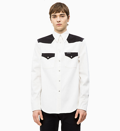 CALVIN KLEIN JEANS Colour Block Western Shirt - WHITE/ BLACK BLOCKED - CALVIN KLEIN JEANS DENIM SHOP - main image
