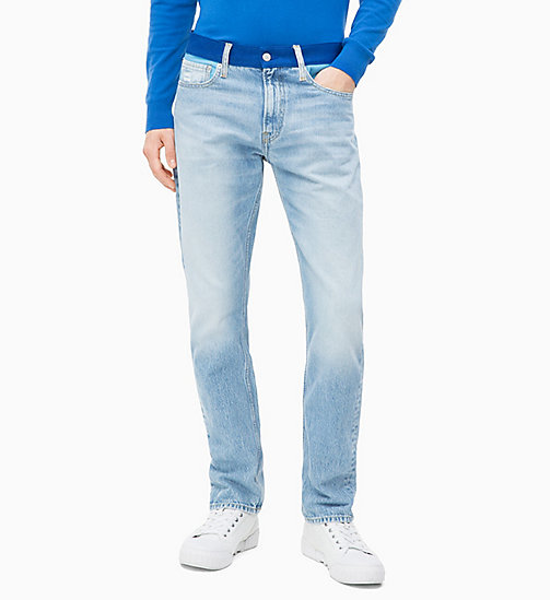 CALVIN KLEIN JEANS CKJ 026 Slim Colour Block Jeans - MOHONK LIGHT BLUE BLOCKED - CALVIN KLEIN JEANS DENIM SHOP - main image
