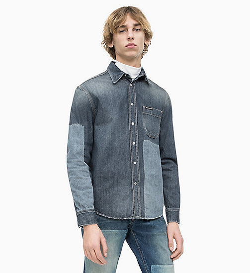 CALVIN KLEIN JEANS Blocked Denim Utility Shirt - FLOUNDER BLOCK - CALVIN KLEIN JEANS DENIM SHOP - main image