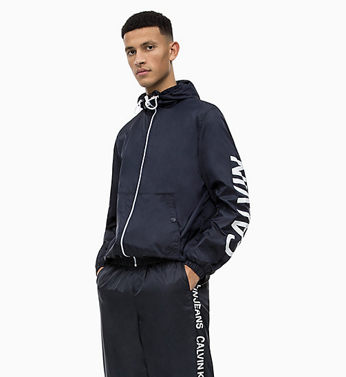 CALVIN KLEIN JEANS Hooded Nylon Logo Jacket - NIGHT SKY - CALVIN KLEIN JEANS LOGO SHOP - main image