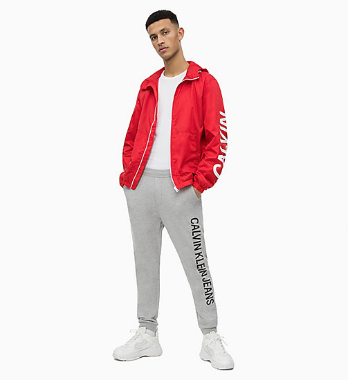CALVIN KLEIN JEANS Hooded Nylon Logo Jacket - RACING RED - CALVIN KLEIN JEANS LOGO SHOP - detail image 1