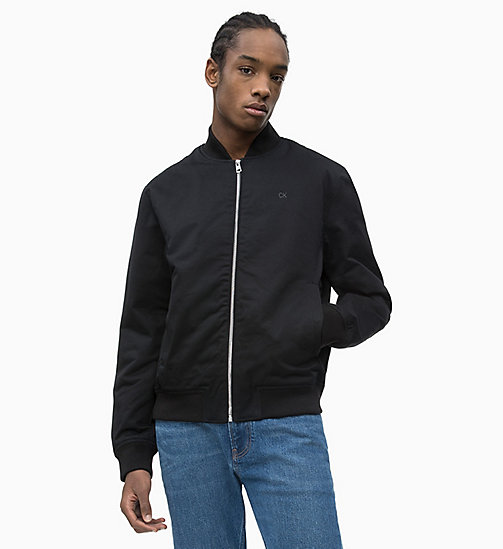 CALVIN KLEIN JEANS Cotton Twill Bomber Jacket - CK BLACK - CALVIN KLEIN JEANS NEW IN - main image