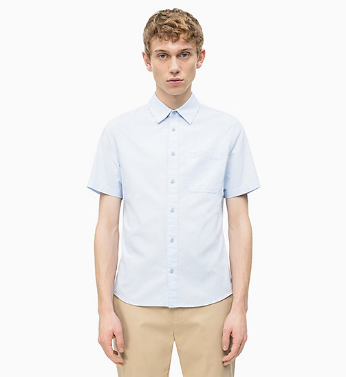 CALVIN KLEIN JEANS Oxford Cotton Short-Sleeve Shirt - CHAMBRAY BLUE - CALVIN KLEIN JEANS NEW IN - main image