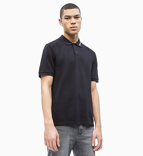 CALVIN KLEIN JEANS Cotton Piqué Logo Collar Polo - CK BLACK - CALVIN KLEIN JEANS NEW IN - main image