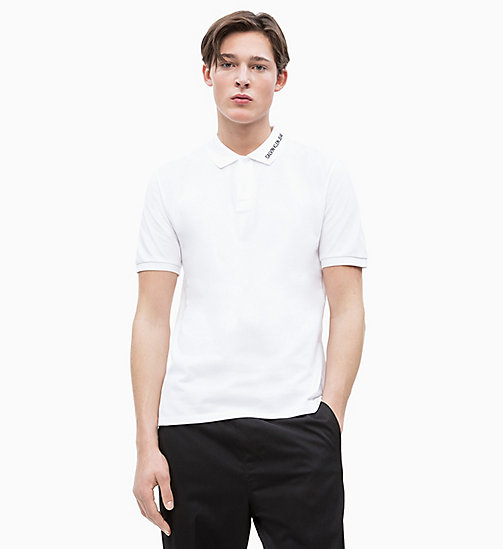 CALVIN KLEIN JEANS Cotton Piqué Logo Collar Polo - BRIGHT WHITE - CALVIN KLEIN JEANS NEW IN - main image