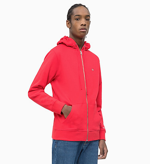 CALVIN KLEIN JEANS Zip-Through Hoodie - RACING RED - CALVIN KLEIN JEANS NEW IN - main image