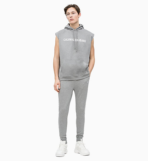 CALVIN KLEIN JEANS Sleeveless Logo Hoodie - GREY HEATHER - CALVIN KLEIN JEANS NEW IN - detail image 1