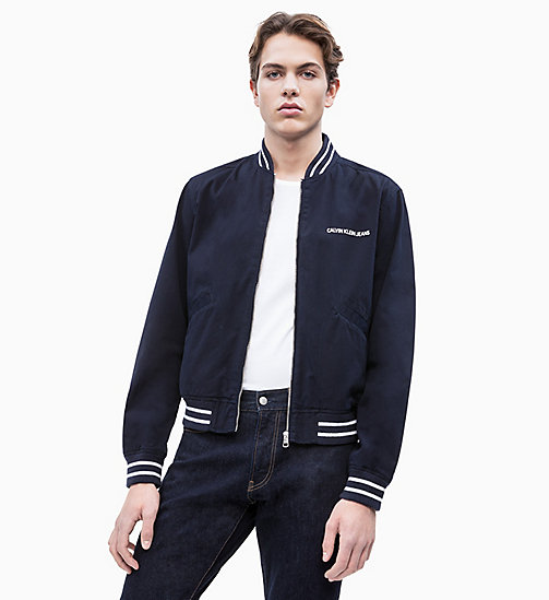 CALVIN KLEIN JEANS Cotton Twill Varsity Jacket - NIGHT SKY - CALVIN KLEIN JEANS NEW IN - main image