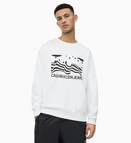 CALVIN KLEIN JEANS Flag Print Sweatshirt - BRIGHT WHITE - CALVIN KLEIN JEANS NEW IN - main image