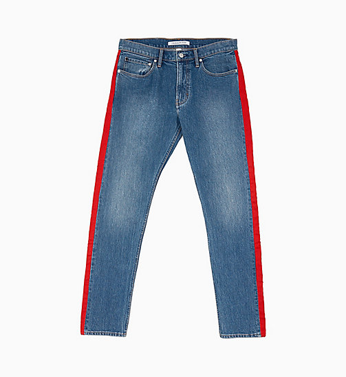 CALVIN KLEIN JEANS CKJ 026 Slim Side-Stripe Jeans - MID STONE AND RED STRIPE - CALVIN KLEIN JEANS DENIM SHOP - image principale