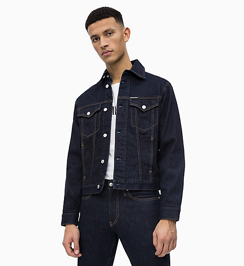 CALVIN KLEIN JEANS Veste trucker en denim avec logo - RINSE WITH RED EMBROIDERY - CALVIN KLEIN JEANS DENIM SHOP - image principale