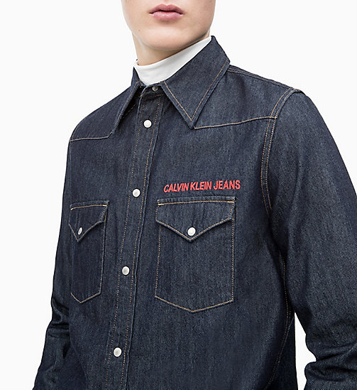 CALVIN KLEIN JEANS Embroidered Western Denim Shirt - RINSE WITH RED EMBROIDERY - CALVIN KLEIN JEANS DENIM SHOP - detail image 1