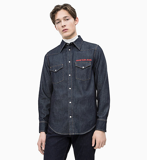 CALVIN KLEIN JEANS Embroidered Western Denim Shirt - RINSE WITH RED EMBROIDERY - CALVIN KLEIN JEANS DENIM SHOP - main image