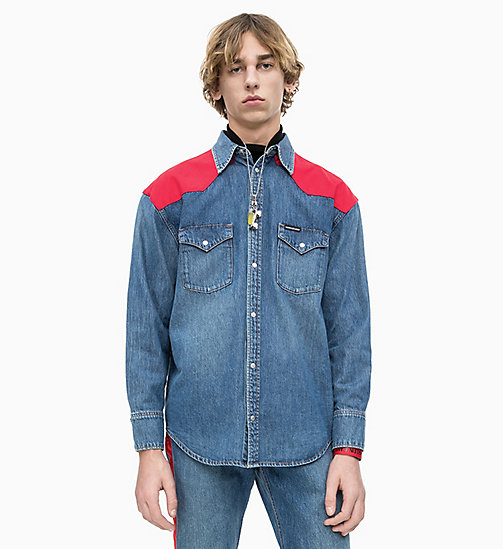 CALVIN KLEIN JEANS Oversized Western Denim Shirt - MID STONE AND RED - CALVIN KLEIN JEANS DENIM SHOP - main image