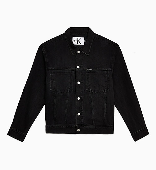 CALVIN KLEIN JEANS Oversized Denim Trucker Jacket - ICONIC BLACK STONE CMF - CALVIN KLEIN JEANS DENIM SHOP - main image