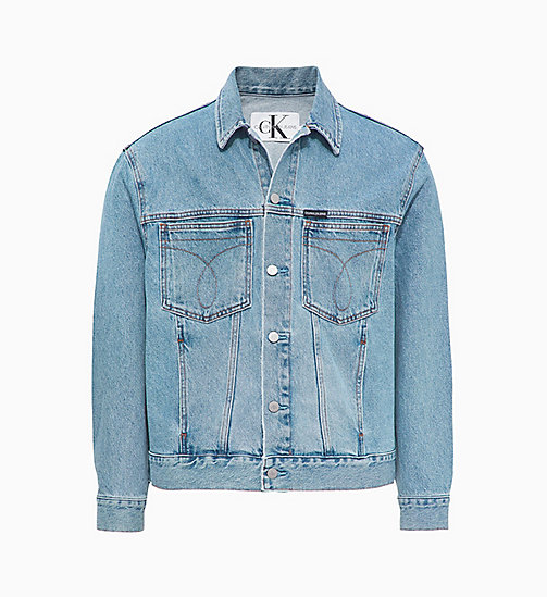 CALVIN KLEIN JEANS Oversized Denim Trucker Jacket - ICONIC MID STONE RGD - CALVIN KLEIN JEANS DENIM SHOP - main image