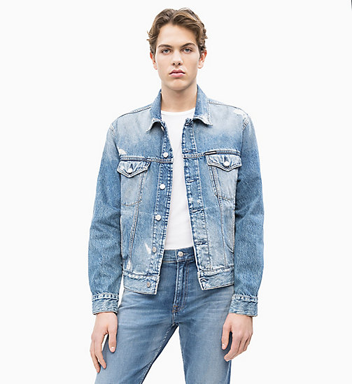 CALVIN KLEIN JEANS Distressed Denim Trucker Jacket - HELLS BLUE - CALVIN KLEIN JEANS DENIM SHOP - main image