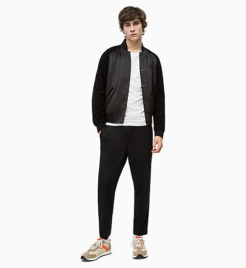 CALVIN KLEIN JEANS Satin and Suede Bomber Jacket - CK BLACK - CALVIN KLEIN JEANS NEW IN - detail image 1