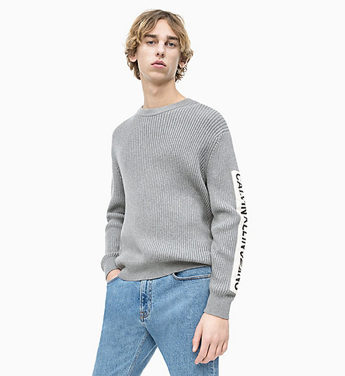 CALVIN KLEIN JEANS Rib-Knit Sleeve Logo Jumper - GREY HEATHER - CALVIN KLEIN JEANS NEW IN - main image