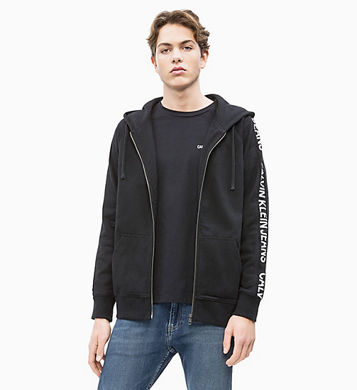 CALVIN KLEIN JEANS Side Logo Zip-Through Hoodie - CK BLACK - CALVIN KLEIN JEANS NEW IN - main image