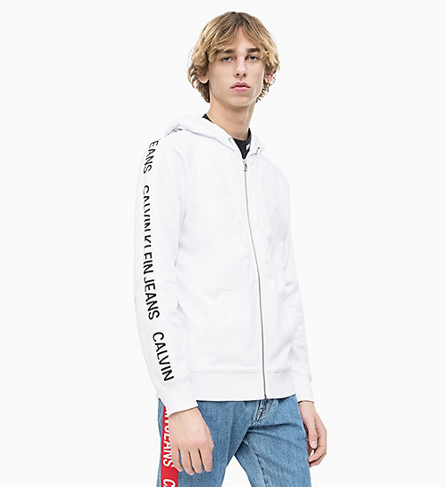 CALVIN KLEIN JEANS Side Logo Zip-Through Hoodie - BRIGHT WHITE - CALVIN KLEIN JEANS LOGO SHOP - main image
