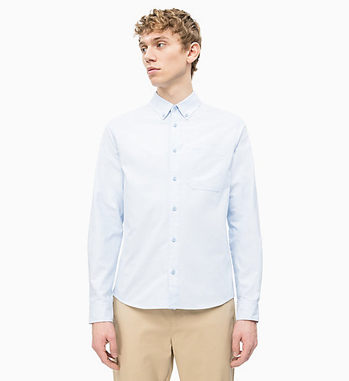 CALVIN KLEIN JEANS Slim Oxford Cotton Shirt - CHAMBRAY BLUE - CALVIN KLEIN JEANS NEW IN - main image