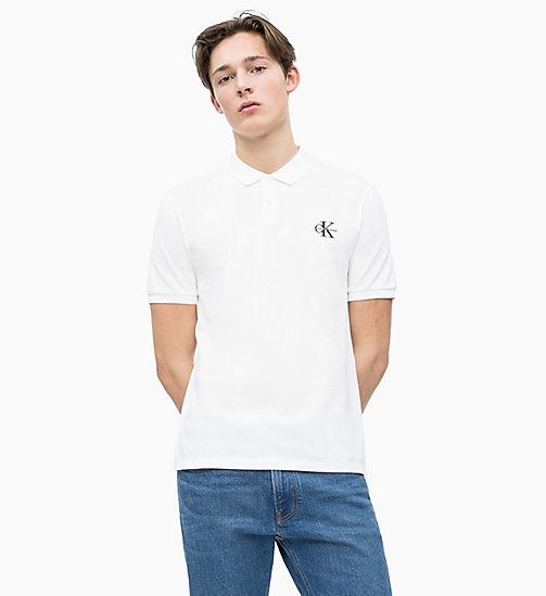 CALVIN KLEIN JEANS Poloshirt aus Baumwoll-Piqué - BRIGHT WHITE - CALVIN  KLEIN JEANS NEW ... 26c1f24149