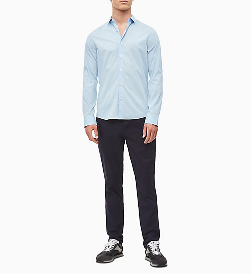 CALVIN KLEIN JEANS Slim Cotton Stretch Shirt - CHAMBRAY BLUE - CALVIN KLEIN JEANS NEW IN - detail image 1
