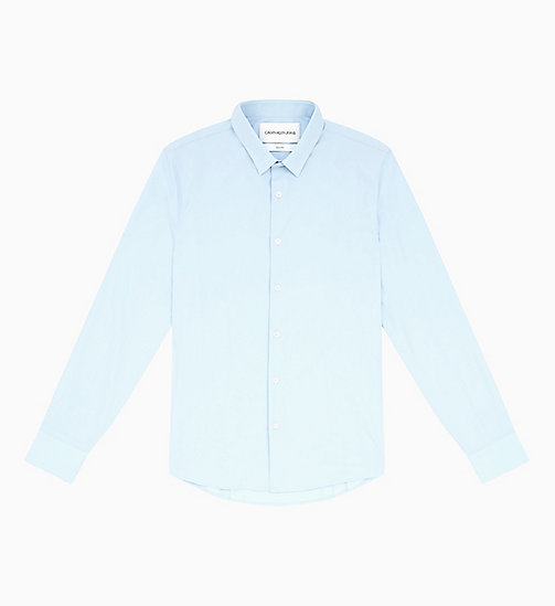 CALVIN KLEIN JEANS Slim Cotton Stretch Shirt - CHAMBRAY BLUE - CALVIN KLEIN JEANS NEW IN - main image