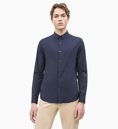 CALVIN KLEIN JEANS Slim Cotton Stretch Shirt - NIGHT SKY - CALVIN KLEIN JEANS NEW IN - main image