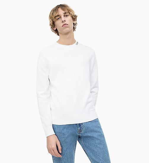 CALVIN KLEIN JEANS Logo Collar Jumper - BRIGHT WHITE - CALVIN KLEIN JEANS NEW IN - main image