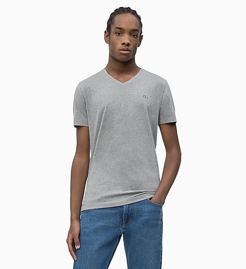 CALVIN KLEIN JEANS Slim V-Neck T-shirt - GREY HEATHER - CALVIN KLEIN JEANS NEW IN - main image