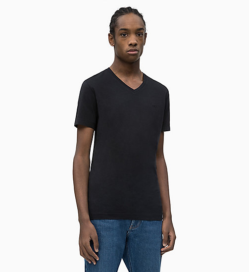 CALVIN KLEIN JEANS Slim V-Neck T-shirt - CK BLACK - CALVIN KLEIN JEANS NEW IN - main image