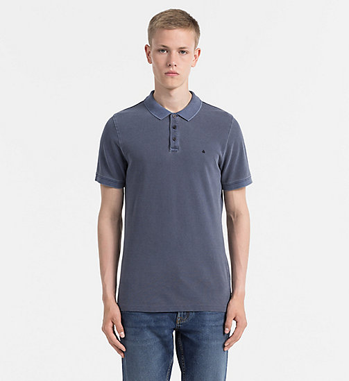 CALVIN KLEIN JEANS Washed Piqué Polo - NIGHT SKY - CALVIN KLEIN JEANS NEW IN - main image
