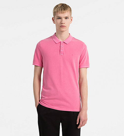 CALVIN KLEIN JEANS Slim Washed Piqué Polo - WILD ORCHID - CALVIN KLEIN JEANS CLOTHES - main image