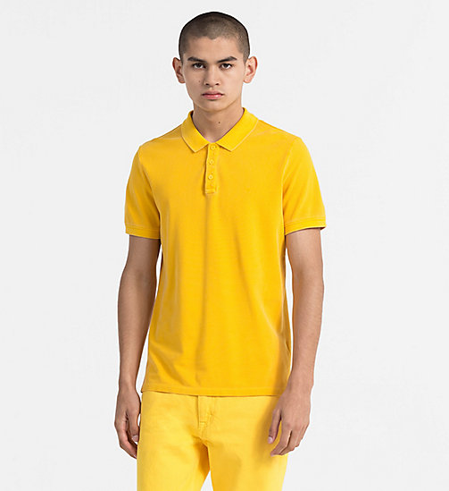 CALVIN KLEIN JEANS Slim Washed Piqué Polo - SPECTRA YELLOW - CALVIN KLEIN JEANS CLOTHES - main image
