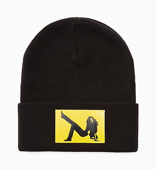 CALVIN KLEIN JEANS Icon Beanie - CK BLACK / YELLOW - CALVIN KLEIN JEANS ACCESSORIES - main image
