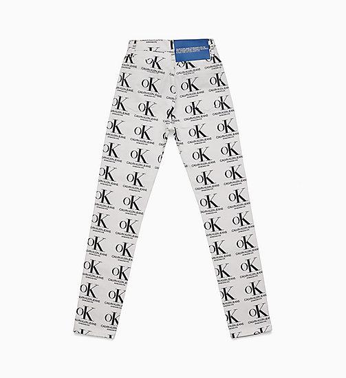 CALVIN KLEIN OK Logo Narrow Leg Jeans - WHITE / BLACK OK AOP - CALVIN KLEIN VIEW ALL - detail image 1