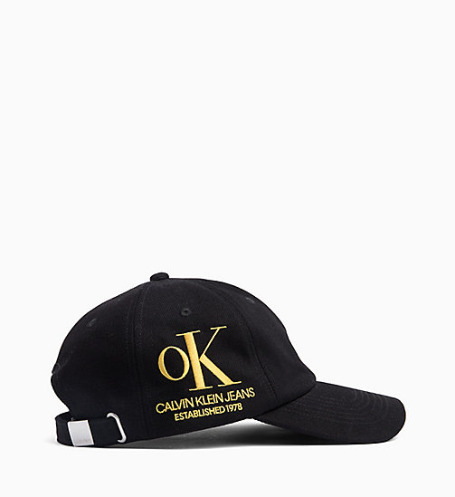CALVIN KLEIN OK Logo Black Wash Denim Cap - BLACK / YELLOW OK - CALVIN KLEIN EST. 1978 - main image