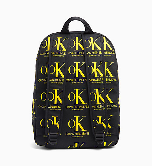 CALVIN KLEIN OK Logo Black Wash Denim Backpack - BLACK / YELLOW OK AOP - CALVIN KLEIN EST. 1978 - detail image 1