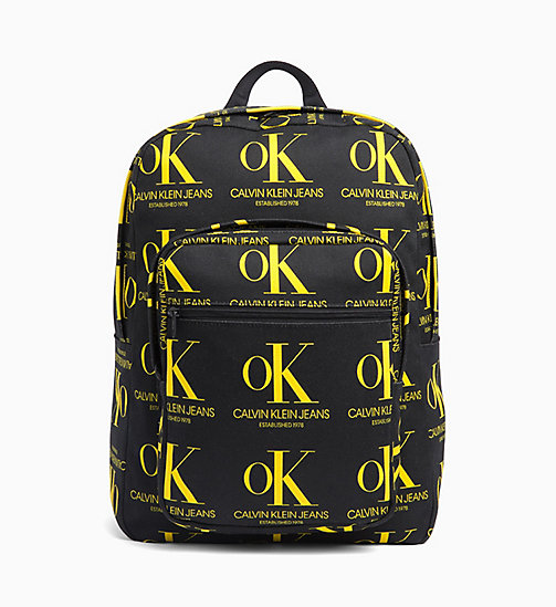 CALVIN KLEIN OK Logo Black Wash Denim Backpack - BLACK / YELLOW OK AOP - CALVIN KLEIN EST. 1978 - main image