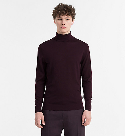 CALVINKLEIN Superior Wool Turtleneck Jumper - BLACKBERRY WINE - CALVIN KLEIN KNITWEAR - main image