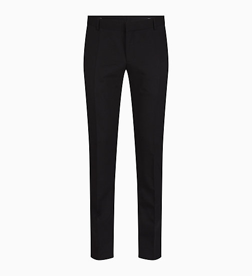 CALVIN KLEIN Slim Wool Stretch Trousers - PERFECT BLACK - CALVIN KLEIN TROUSERS & SHORTS - main image